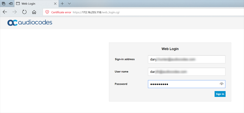 Authenticate using your Sign-In address (SIP URI) and your credentials and click Sign In.