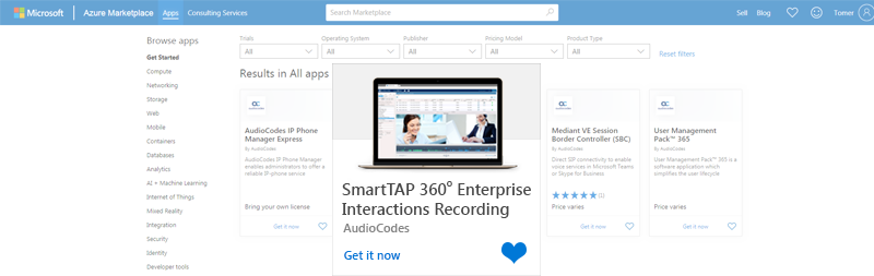 Product-Notice-0367---AudioCodes-SmartTAP-360-Interaction-Call-Recording-Solution-Now-Available-in-Microsoft-Azure-Marketplace-1